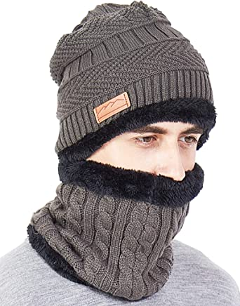 VTOSEN 2Pcs Winter Beanie Hat Scarf Set Warm Knit Hat Thick Knit Skull Cap for Men Women Boys Girls(Adult-Grey) Warm Knitted Hat and Circle Scarf Skiing Hat Outdoor Sports Hat Sets