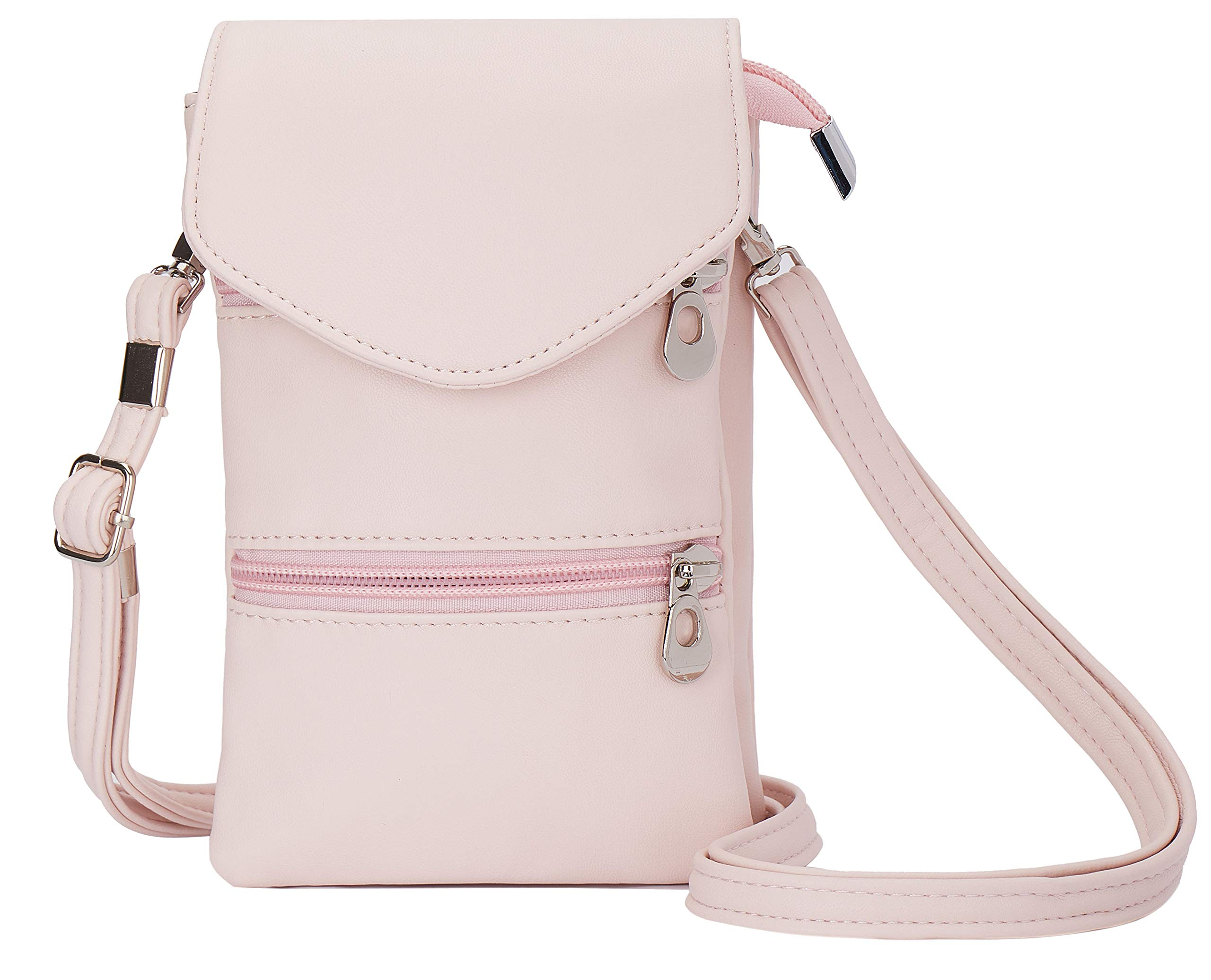 Pink Lightweight Small Womens Crossbody Bag Anti Theft Cell Phone Purse Wallet