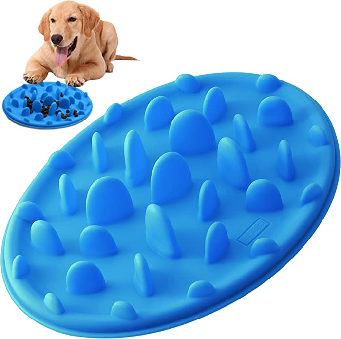 PETBABA Dog Bowl Slow Feeder, Interactive Puzzle Fun Silicone Nonskid Feed Dish, Against Bloat in Eating Food, Keep Your Cat Pet Healthy