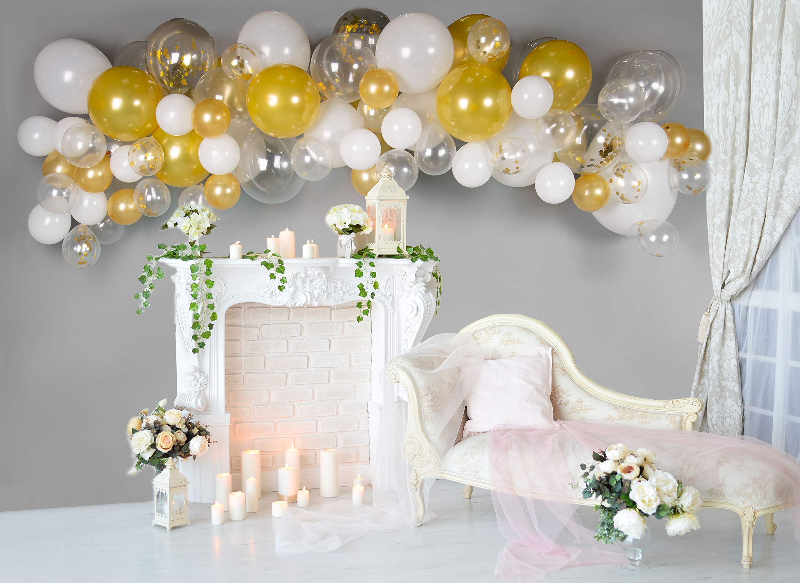 Balloon Arch & Garland Kit by Serene Selection White & Gold for Wedding, Bridal Shower, Birthdays, Baby Showers, S, M, L Balloons, 16 ft Balloon Strips, Tying Tool, Pump, 100 Balloon Dot Glue
