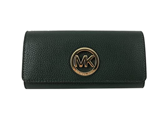 90224252a26f ... canada michael kors fulton flap continental leather clutch wallet in  moss green 20cc5 bd028