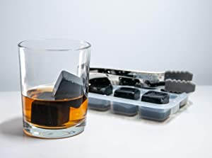 whiskey stones set - 8 chilling stones with tray and tong, reusable ice cubes, perfect accessories for glasses of drinks and beverages, gift for men