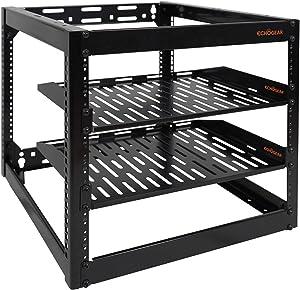 ECHOGEAR 10U Open Frame Rack - Wall Mountable Heavy Duty 4 Post Design Holds All Your Networking & AV Gear - Includes 2 1U Vented Shelves & Mounting Hardware
