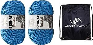 Bernat Knitting Yarn Blanket Big Ball Coastal Collection Blue Velvet 2-Skein Factory Pack (Same Dyelot) 161110C-10799 Bundle with 1 Artsiga Crafts Project Bag