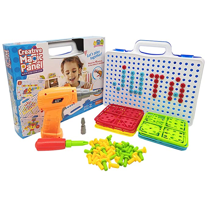 Juta Creative Toolbox Toy Set for Kids with Electronic Cordless Drill, 151+ Pieces Play Construction Accessories and Suitcase $19.99