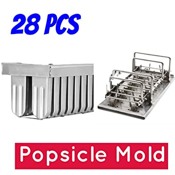 28pcs moldes de acero inoxidable para Popsicles helados Ice Lolly Hielo Crema Cop bares Stick Soporte ...