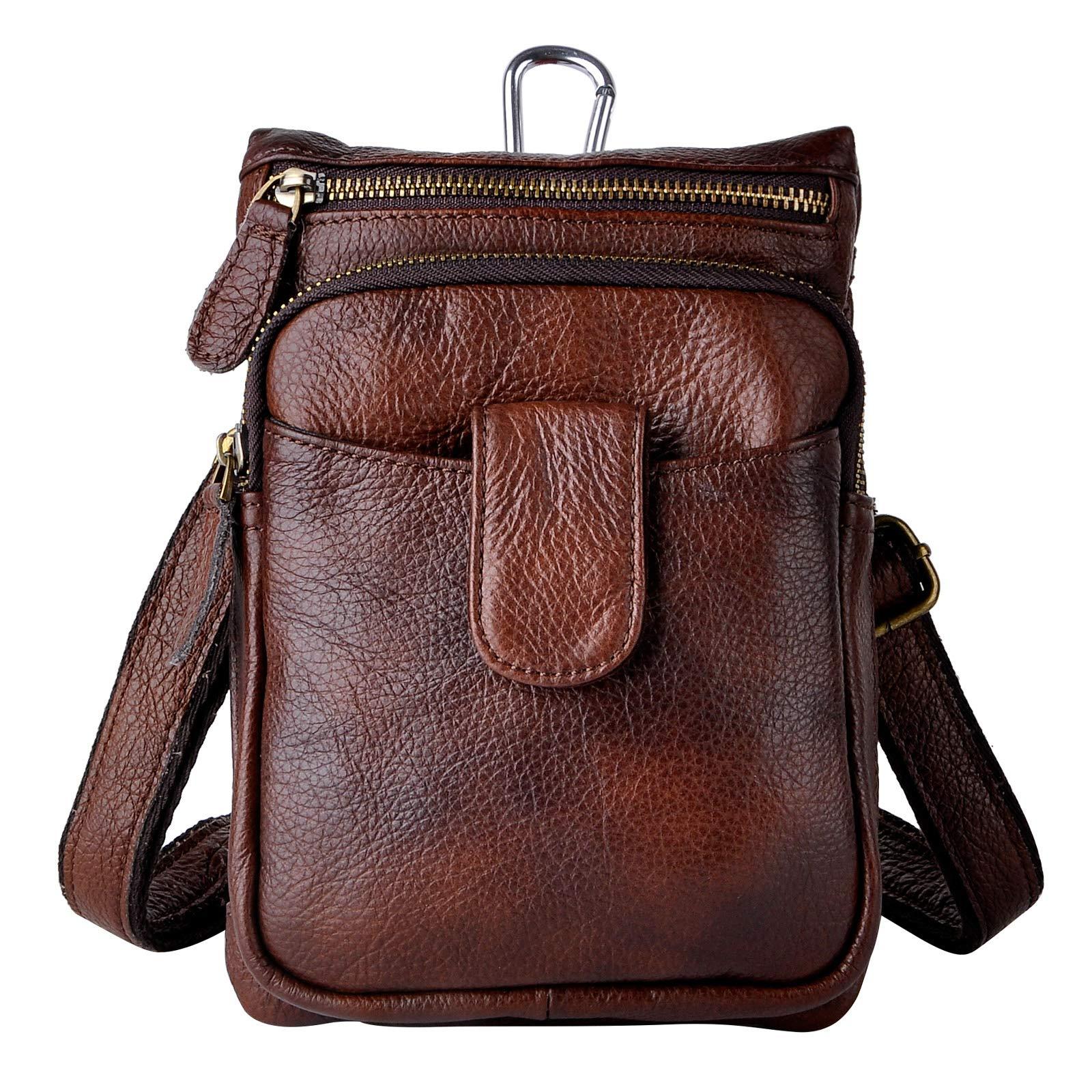 Le'aokuu Men Genuine Leather Small Hook Messenger Shoulder Bag Fanny Waist Belt Pack Pouch 6549 (6549(T1007) Brown)