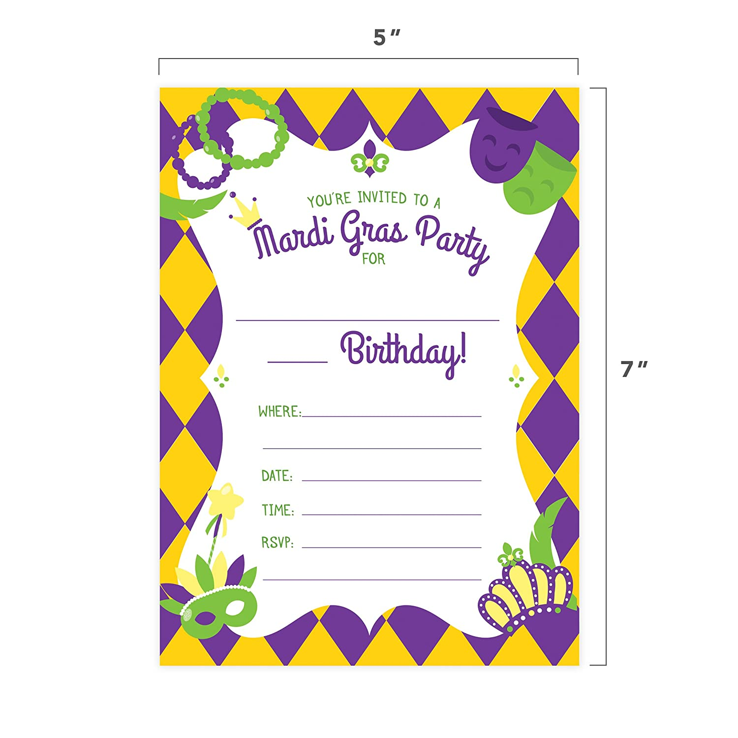 Amazon Mardi Gras Happy Birthday Invitations Invite Cards 25 Count With Envelopes Seal Stickers Boys Girls Kids Party Health Personal Care