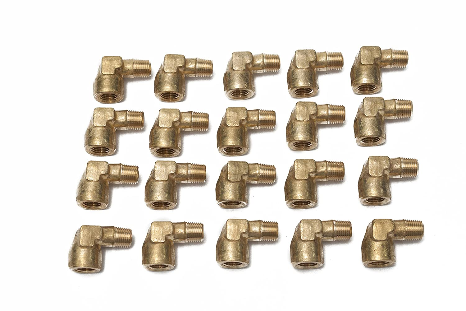 Pack of 20 LTWFITTING Brass Pipe 90 Deg 1//8-Inch NPT Street Elbow Forged Fitting Fuel Air Boat