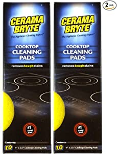 (2 Pack) Cerama Bryte Ceramic Cooktop Cleaning Pads, Total 20 Pads