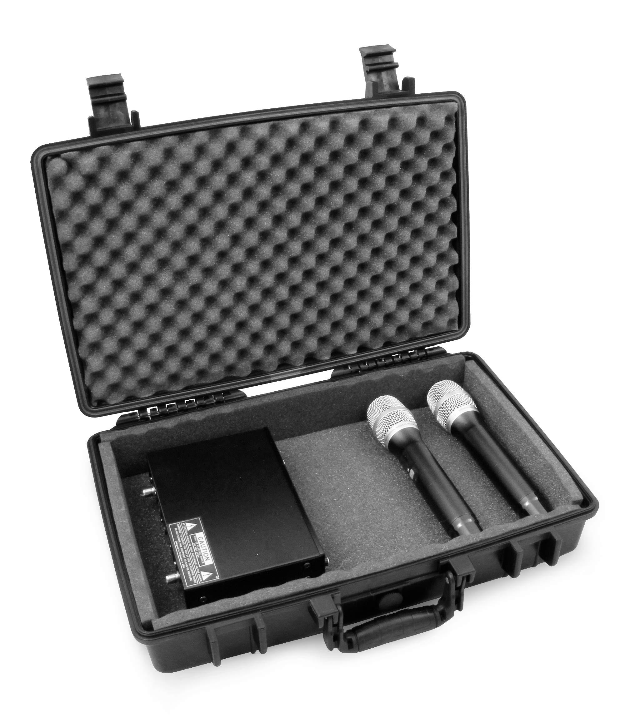 STUDIOCASE 2.0 PRO Wireless Microphone System Hard Case w/Foam - Fits Sennheiser, Shure, Audio-Technica, Nady, VocoPro, AKG Receiver, Body Transmitter, UHF Headset, Lavalier and Handheld Mics by CASEMATIX