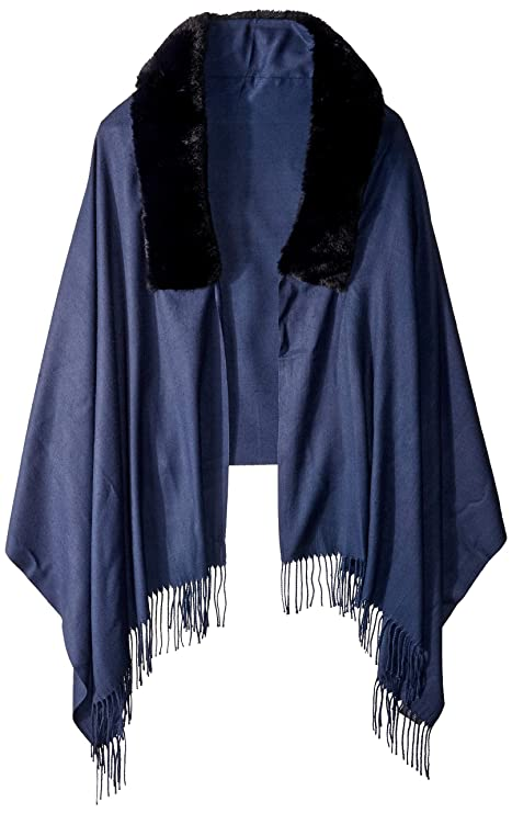 Victorian Capelet, Cape, Cloak, Shawl, Muff Vince Camuto Womens Faux Fur Trim Pashmina $27.77 AT vintagedancer.com