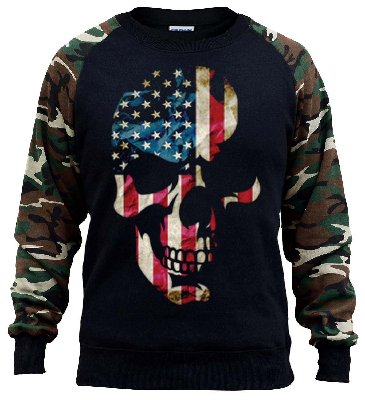 Mens Huge American Skull Black//Camo Raglan Baseball Sweatshirt Black