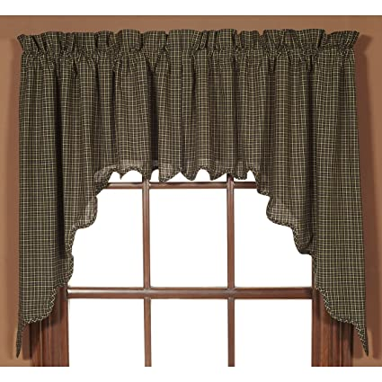 VHC Brands Classic Country Primitive Kitchen Window Curtains Kettle Grove  Black Scalloped 7181 Set,