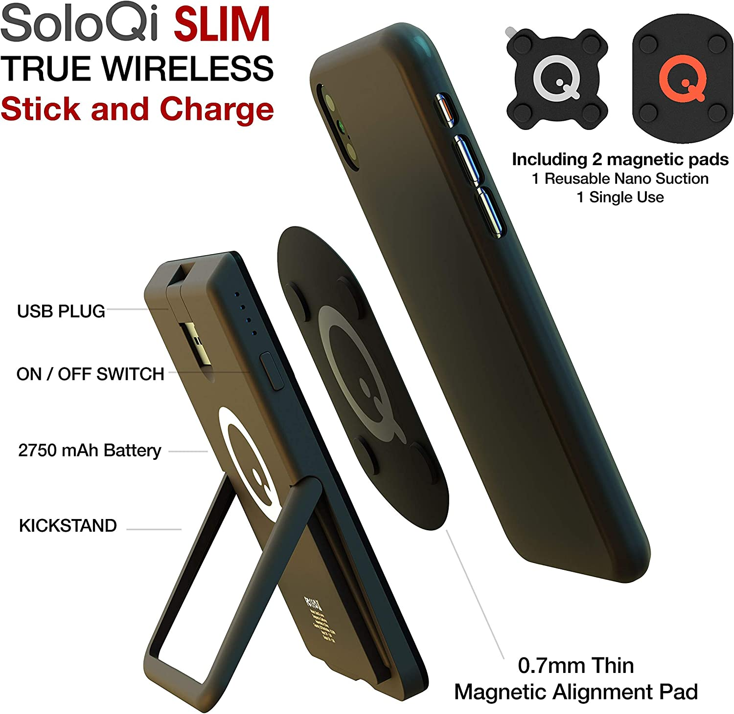 SoloQi Slim Portable Wireless Charger with Kickstand and Magnetic Pads