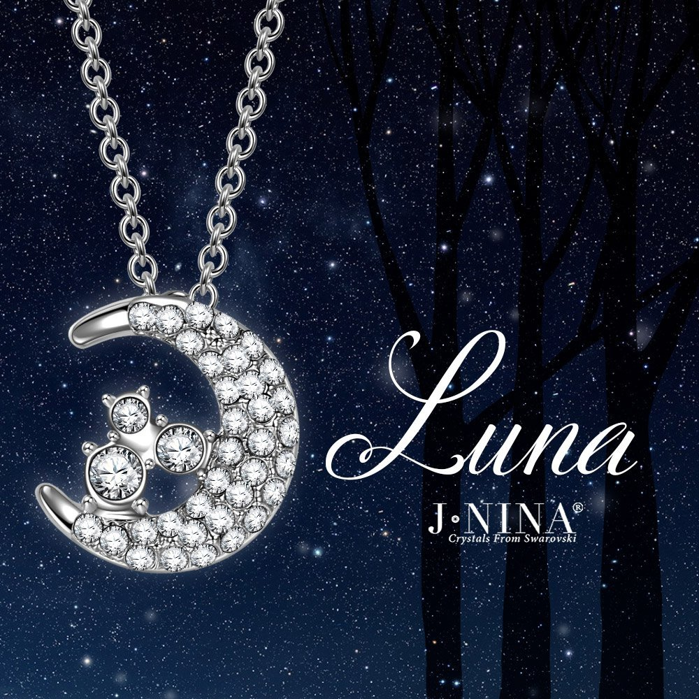 Goddess of The Moon Crystal Pendant Necklace Best Jewelry Gift for Her Choker Chain with White Pearl Crystals from Swarovski J.NINA Necklace