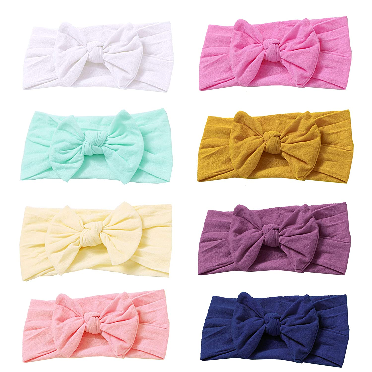 Prohouse 8PCS Super Stretchy Knot Nylon Baby Headbands For Newborn Baby Girls Infant Toddlers Kids 729129346850