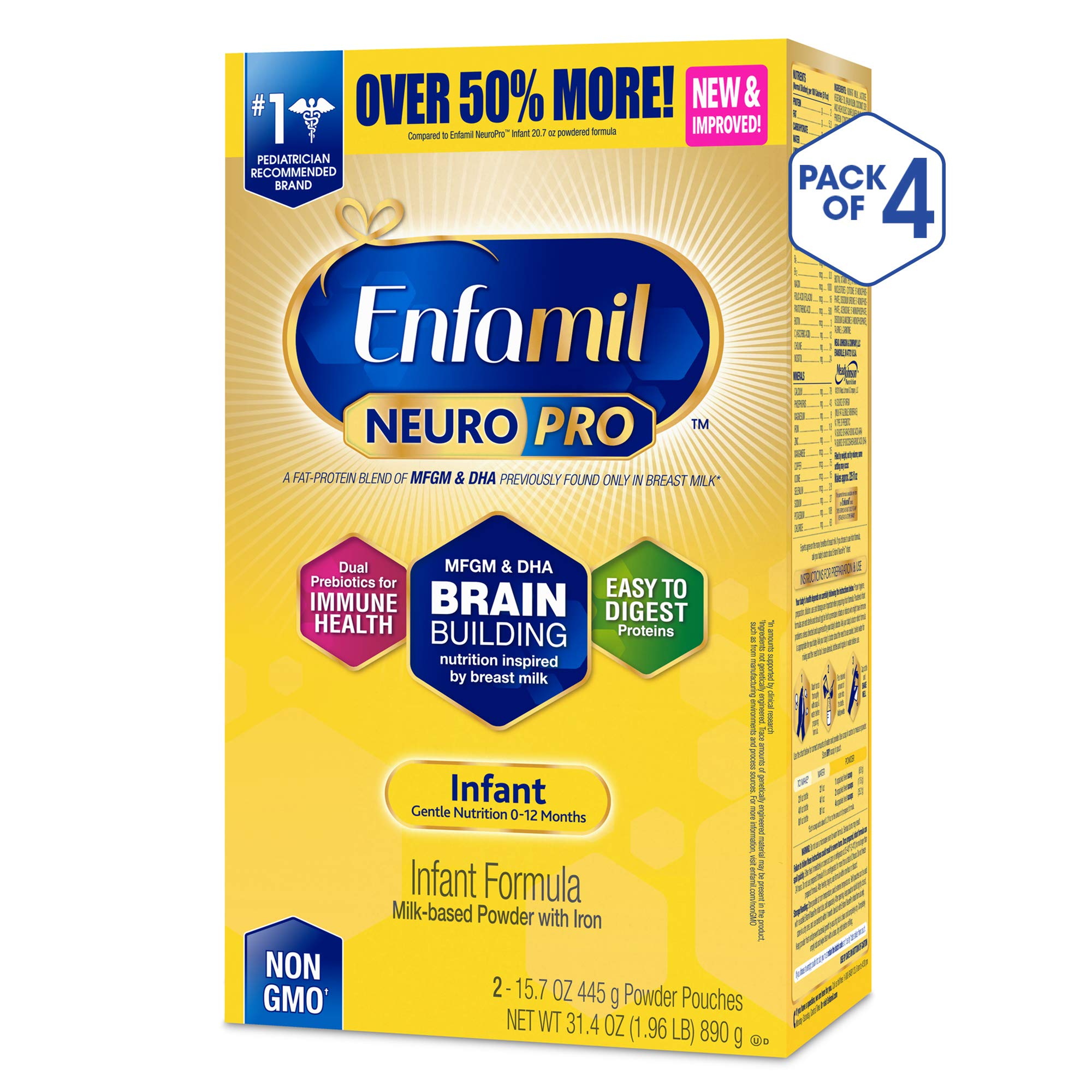 Enfamil NeuroPro Baby Formula Milk Powder Refill, 31.4 ounce (Pack of 4) - MFGM, Omega 3 DHA, Probiotics, Iron & Immune Support by Enfamil (Image #1)