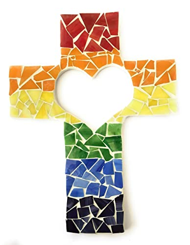 Rainbow Heart Cutout Wall Cross Handcrafted Mosaic