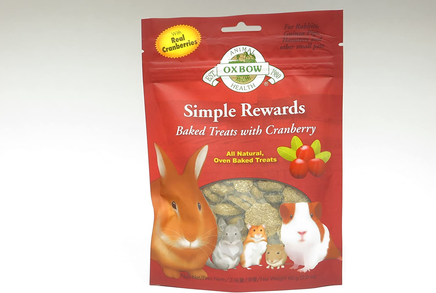 New Oxbow Simple Rewards All Natural Oven Baked Treats with Cranberry and Timothy Grass