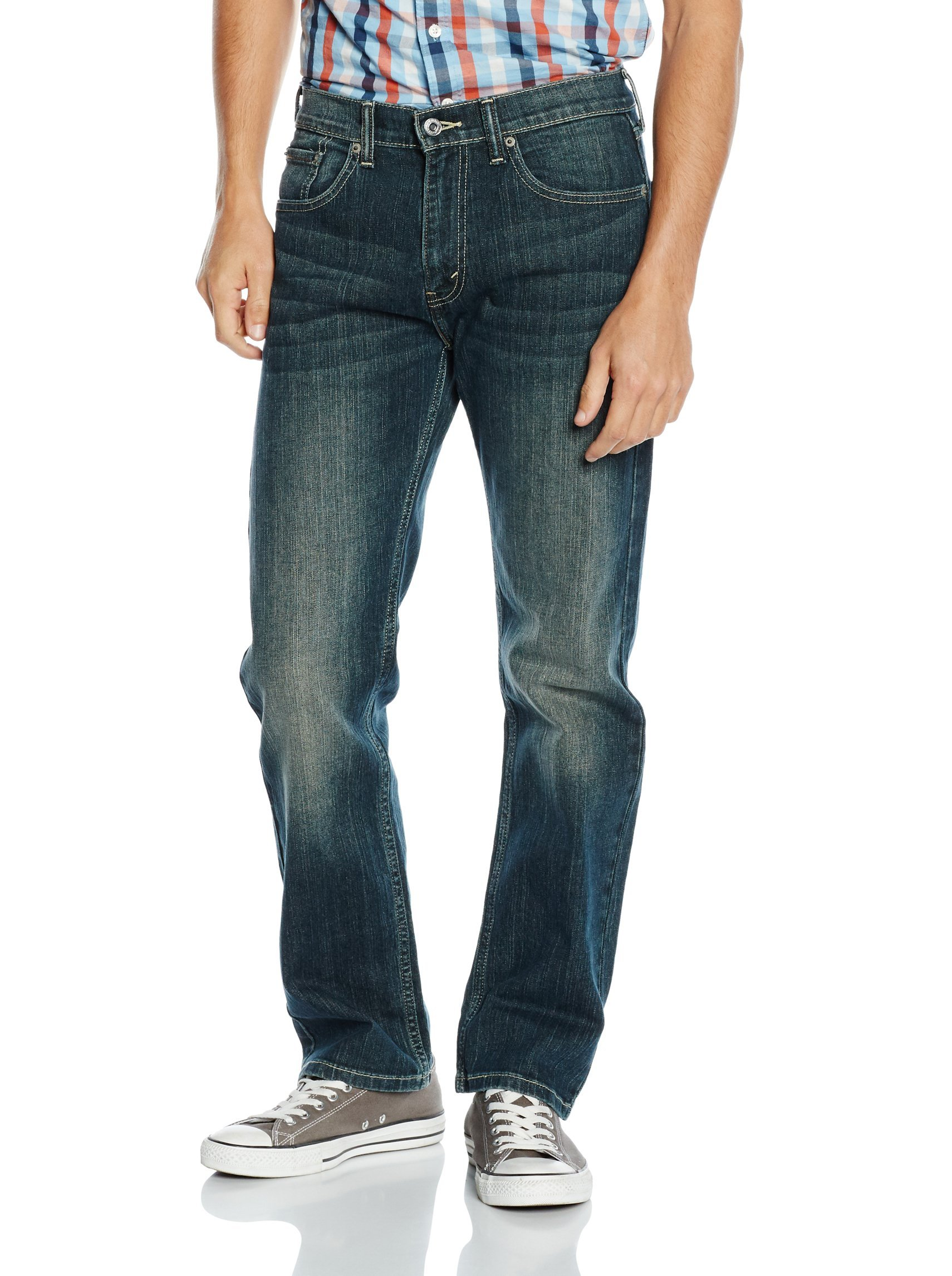 New Levis 505 0277 Zip Fly Regular Fit Stretch Mens Washed Jeans W32 L34