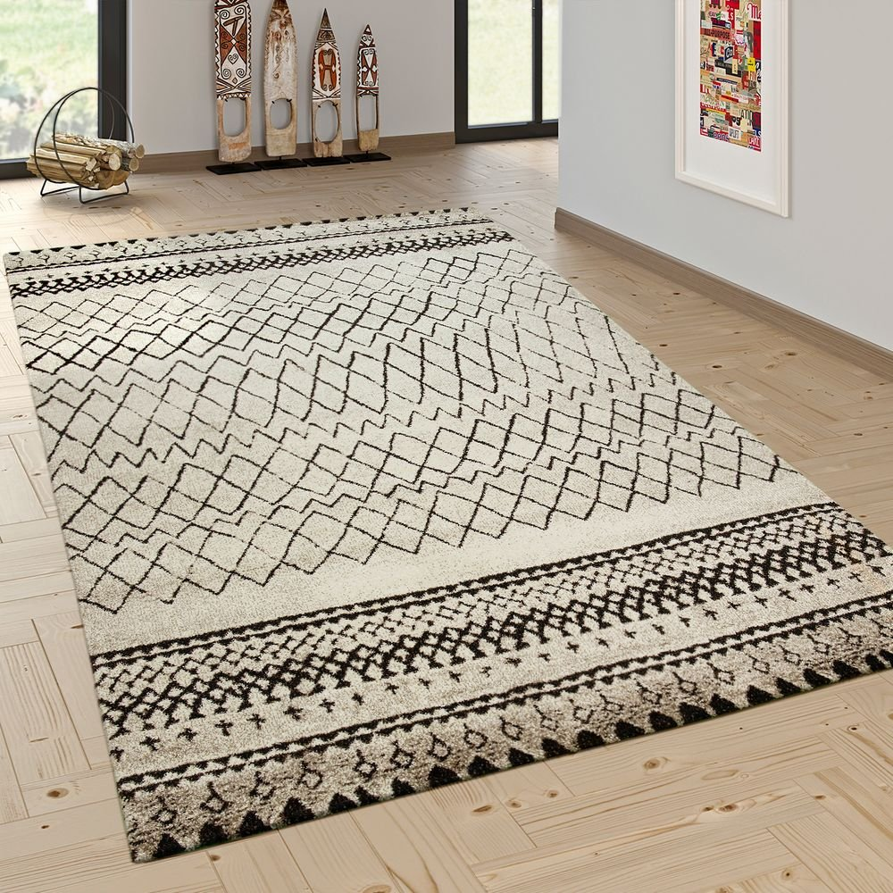 Paco Home Designer Teppich Modern Skandinavisch Trend Zick Zack Muster Schwarz Creme, Grösse 160x230 cm