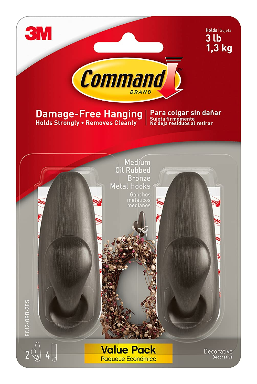 Command FC13-ORB-AWES Outdoor Forever Classic Oil Rubbed Bronze Metal Hook with Foam Strips, 1-Hook and 2-Strips 3M Corp