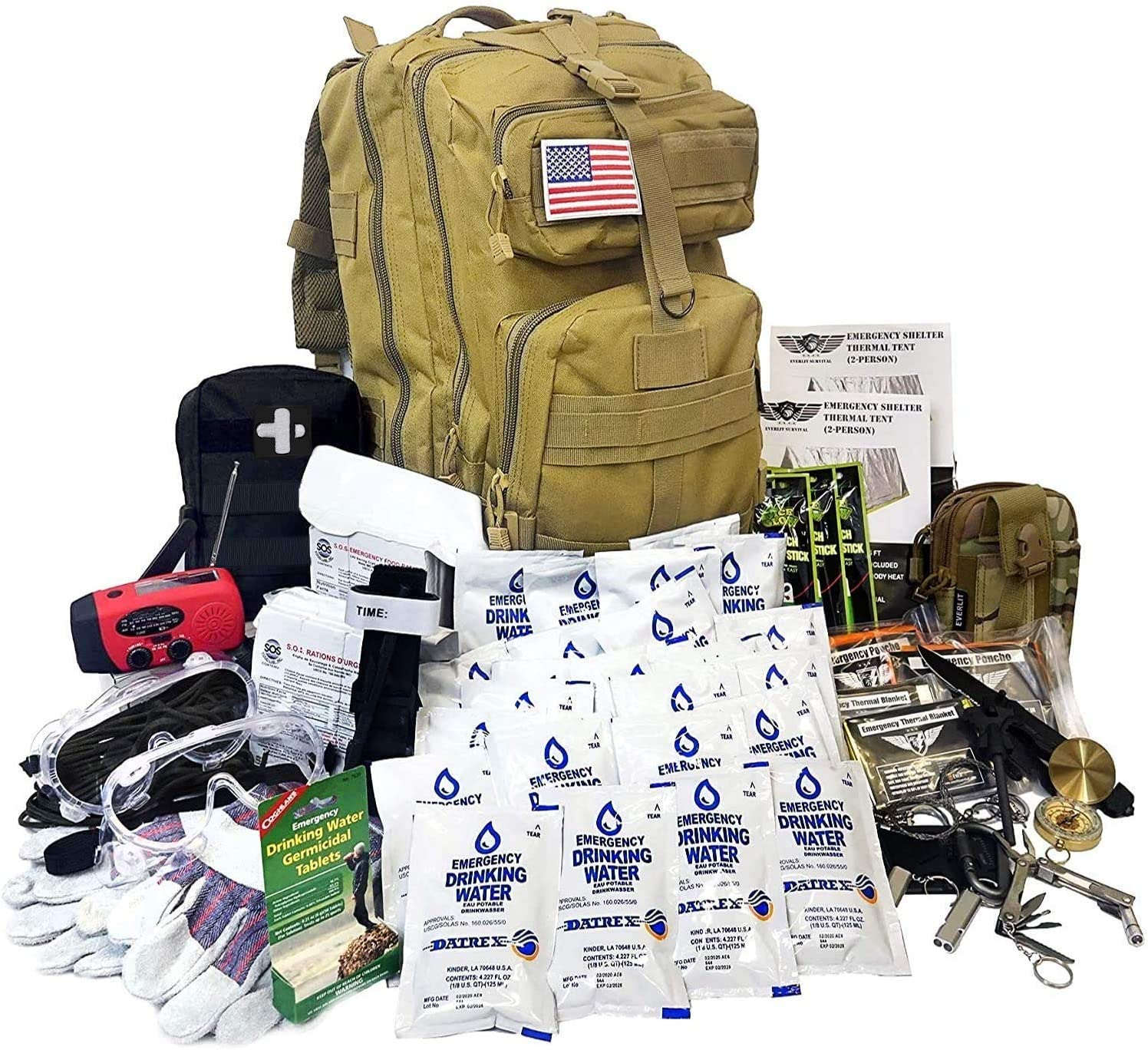 Amazon.com: EVERLIT Complete 72 Hours Earthquake Bug Out Bag Emergency  Survival Kit for Family. Be Prepared for Hurricanes, Floods, Tsunami, Other  Disasters… (2 Person): Sports & Outdoors
