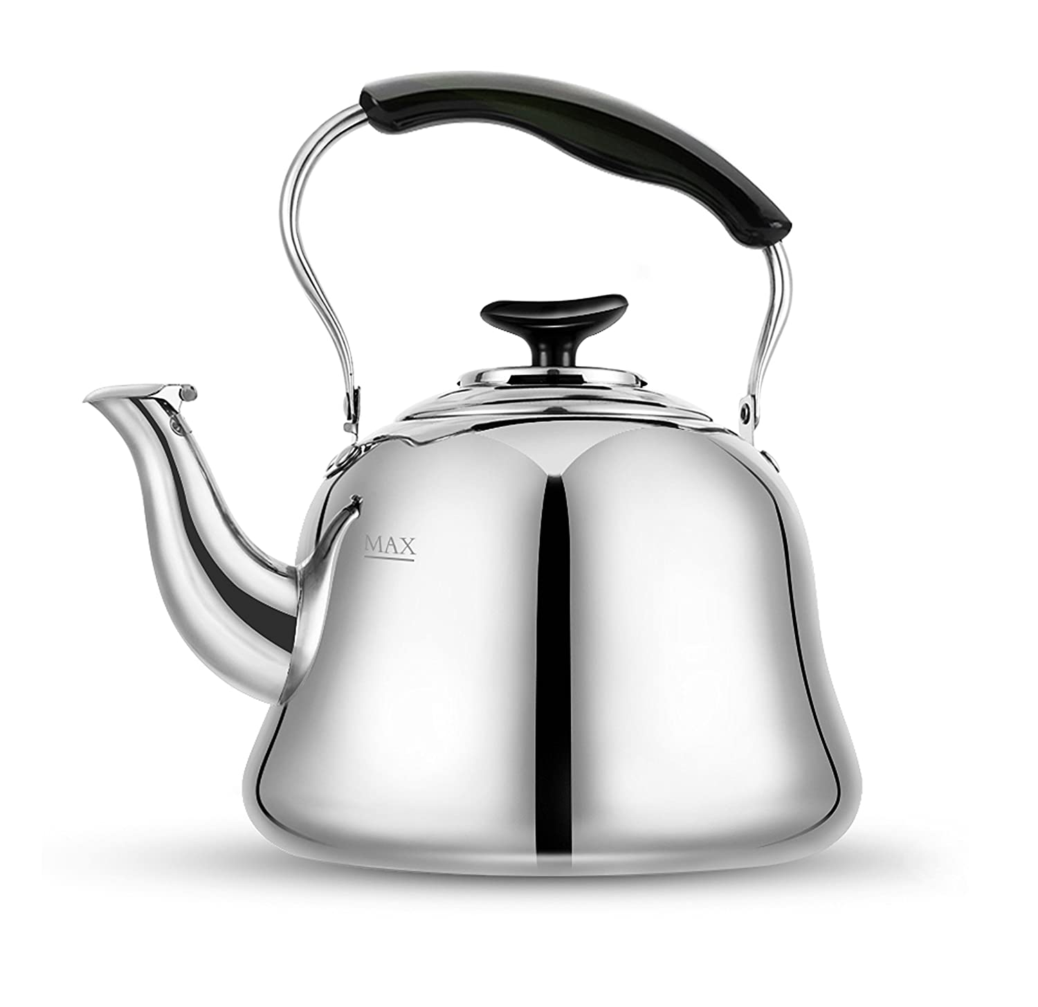 Tea Kettle Stovetop Whistling Teakettle Teapot, Stainless Steel, Thin Base, Mirror Finish, 2 liters