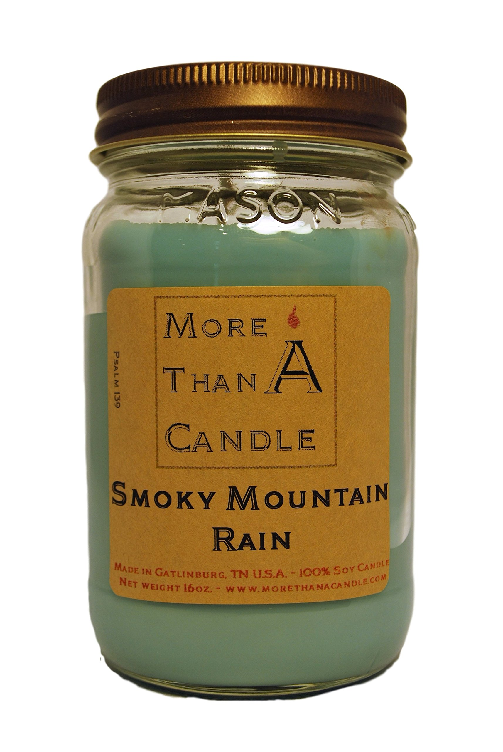 More Than A Candle 16 oz Mason Jar Soy Candle - Made in the USA Smoky Mountain Rain