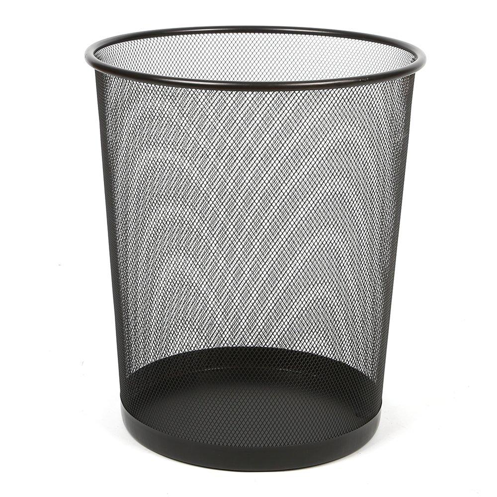 Aojia Mesh Round Wastebasket, Black (9.3X 7.3 Diameter 10.4H), 9103