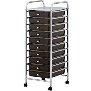 VonHaus 10 Drawer Storage Trolley | Home Office Supplies or Make-up & Beauty Accessories | Black