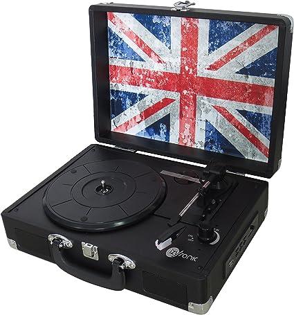 izytronic izytable1001uk Tocadiscos Vintage Negro/Bandera UK ...