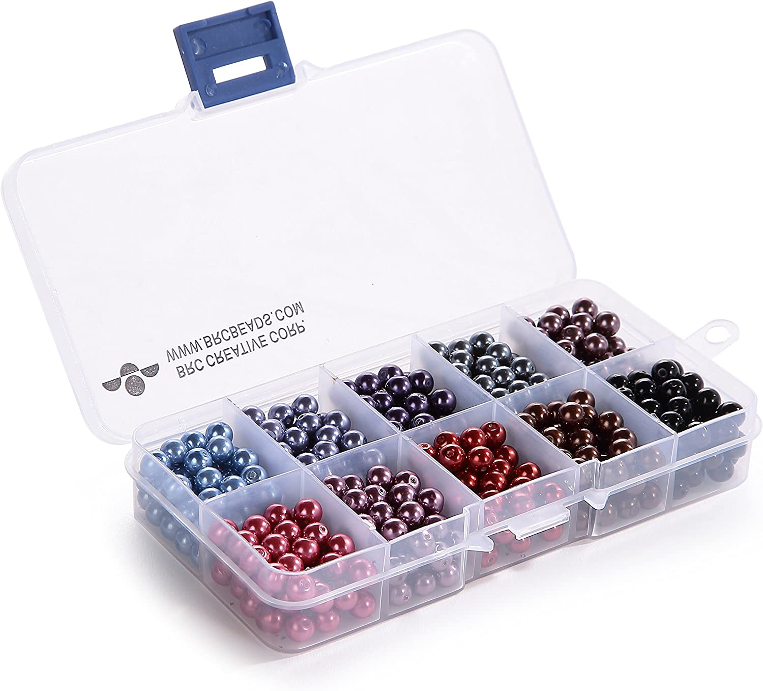 BRCbeads 4mm 1000pcs COOL COLOR Tiny Satin Luster Glass Pearls Round Loose Beads FREE Plastic Jewelry Container Box Wholesale Assorted Mix Lot For Jewelry Making