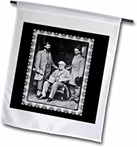 "3dRose fl_160767_1""Generals Robert Lee, Curtis Lee, Col. Walter Taylor, 1865 Civil War Garden Flag, 12 x 18"