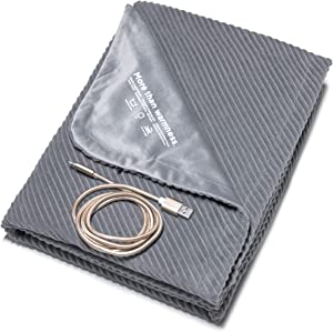"DAWNLAB 2020 Upgraded Ultra Soft Portable USB Heated Blanket Throw, Multifunctional for Travel, Office, Home, Outdoor and Vehicle. Stylish, Safe and Easy to Care, 5V-12V, 40"" x 40"""