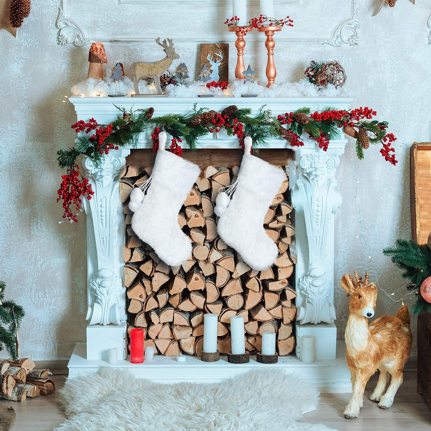 White Faux Fur Stocking Boao 2 Pieces 20 Inch Christmas Stockings Snowy White Faux Fur Christmas Stocking for Holiday Party Christmas Fireplace Decorations