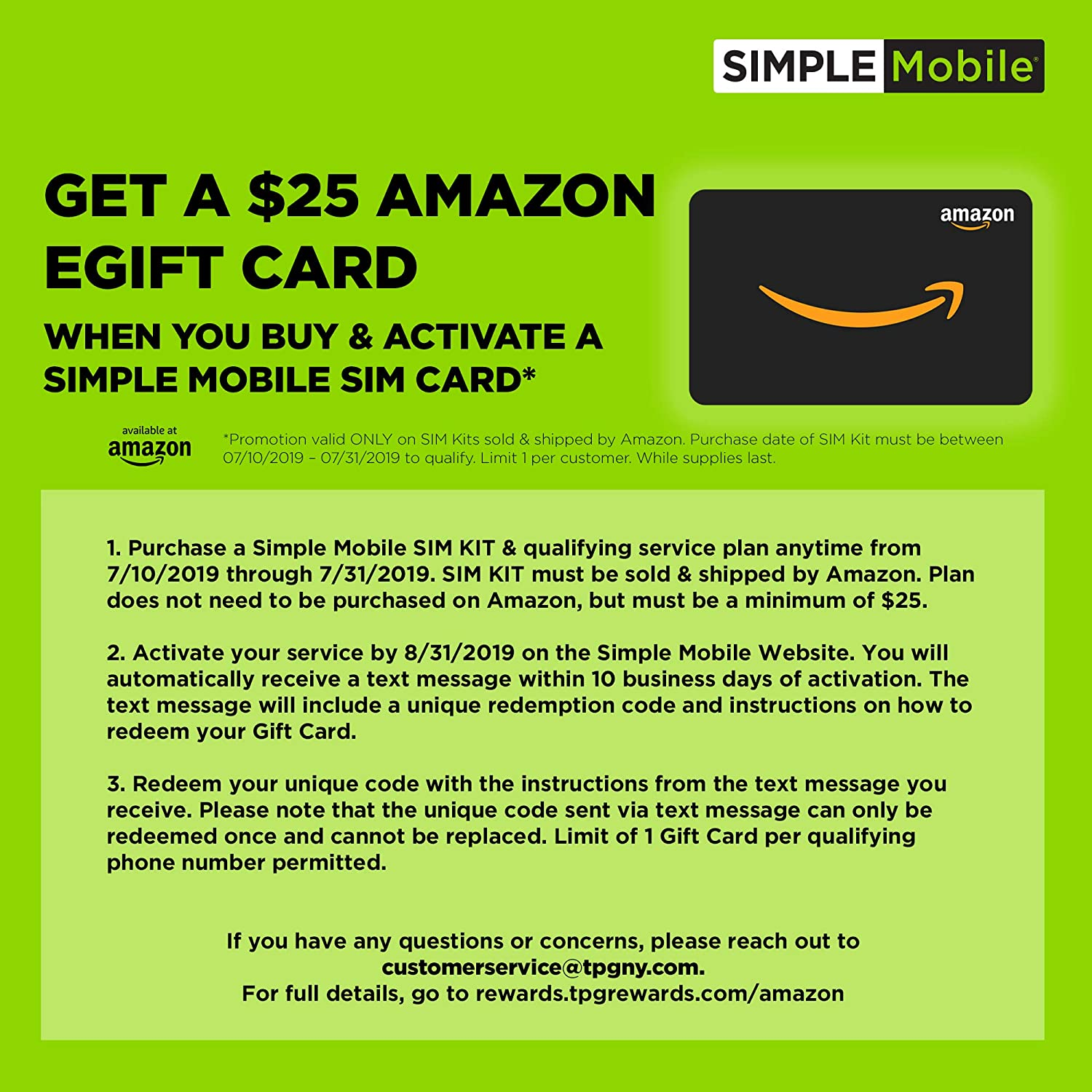 ($25 eGift Card Promotion) Simple Mobile Keep Your Own Phone 3-in-1 Prepaid  SIM Kit