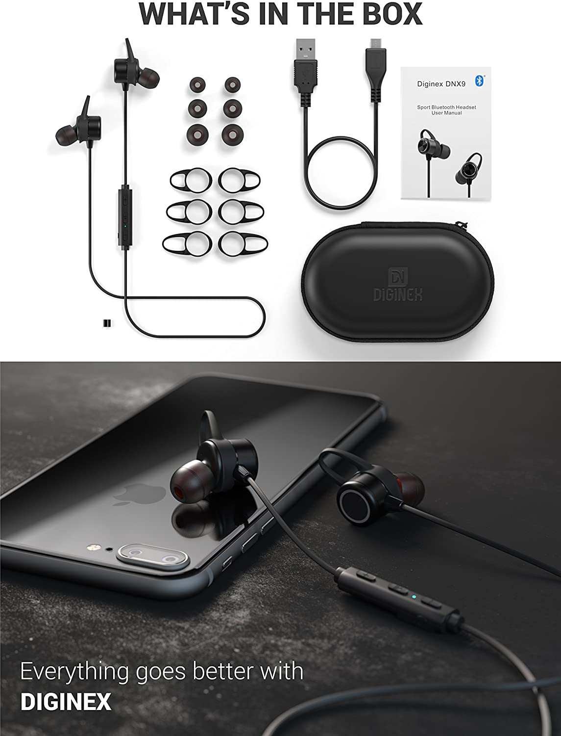 Black Diginex Bluetooth Earbuds Wireless Magnetic Headset Sport Earphones for Running IPX7 Waterproof Headphones 9 Hours Playtime High Fidelity Stereo Sound and Noise Cancelling Mic 1 Hour Recharge