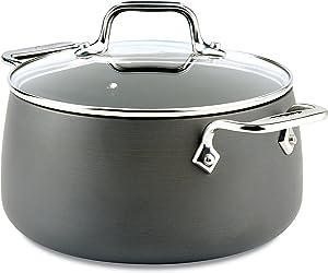 All-Clad E7854464 HA1 Hard Anodized Nonstick Dishwaher Safe PFOA Free Soup Stock Pot Cookware, 4-Quart, Black