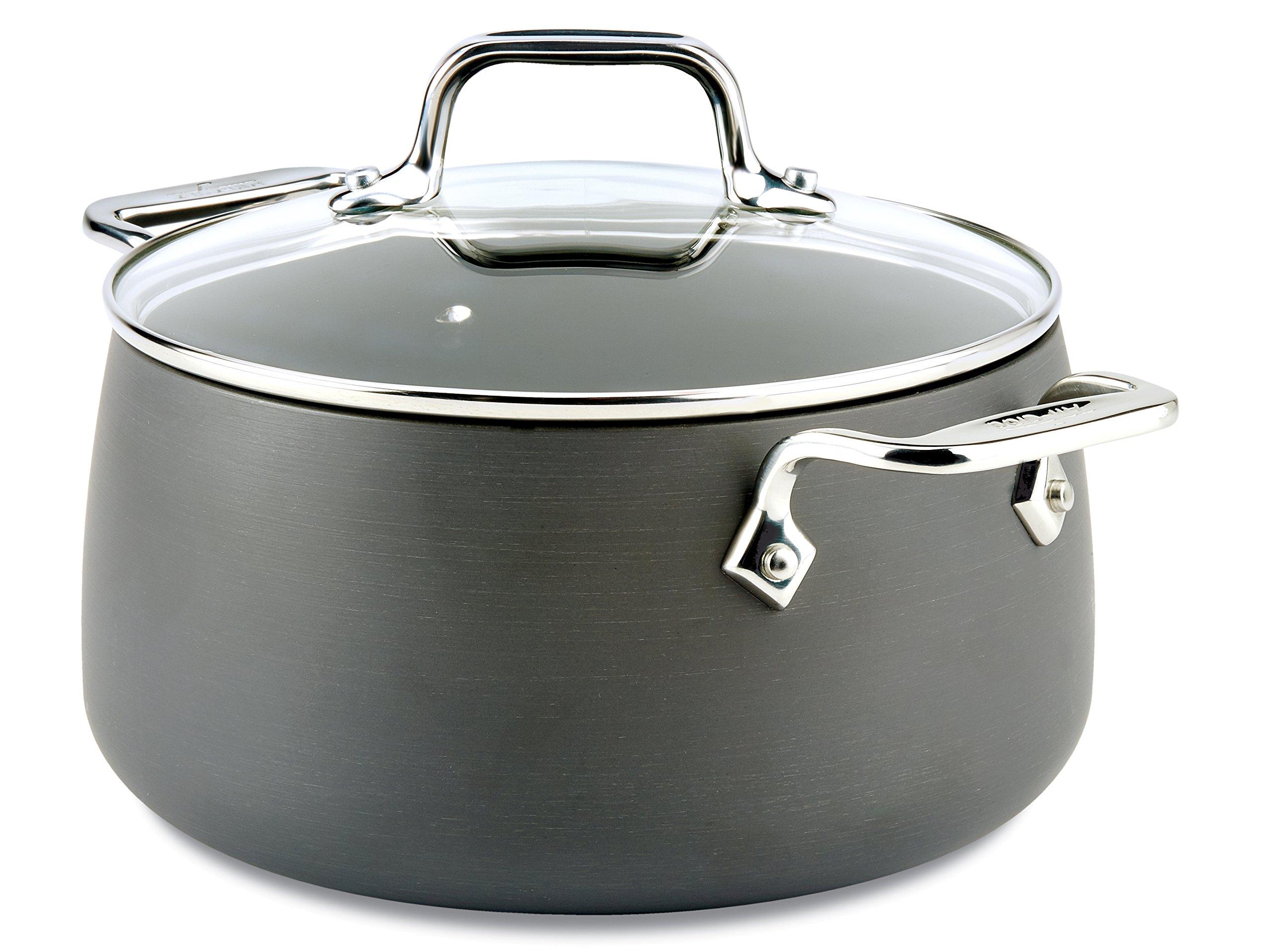 All-Clad E7854464 HA1 Hard Anodized Nonstick Dishwasher Safe PFOA Free Soup Pot/Stock Pot Cookware, 4-Quart, Black by All-Clad