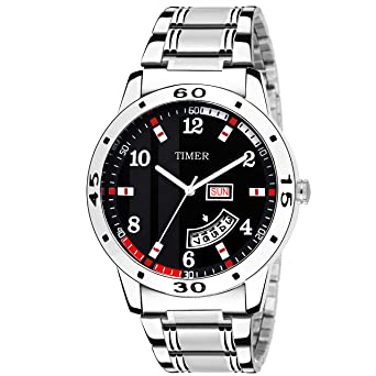 8acd92958 Timer Fashionable Day and Date Wrist Watch Analog Dial Silver Chain  Chronograph Wrist Watch for Men