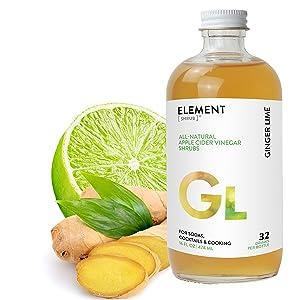 Element Shrub - All-Natural Ginger Lime Shrub Drink Mix - Uses Apple Cider Vinegar (Organic), Fresh Lime & Organic Spices - Organic Apple Cider Vinegar Drink & Cocktail Mix - 16 Ounces