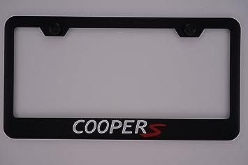 mini cooper s black license plate frame with caps - Mini Cooper License Plate Frame