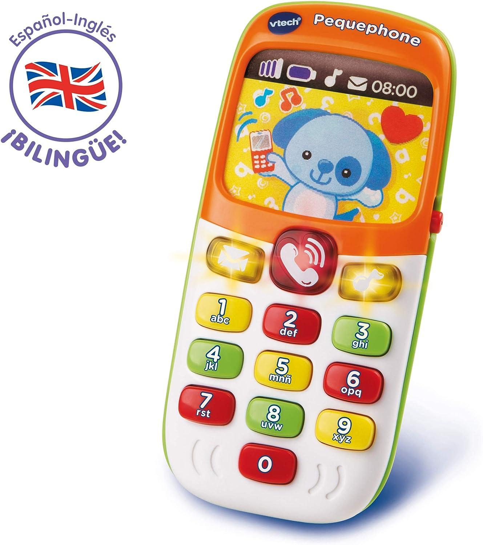 VTech Pequephone bilingüe, teléfono infantil con luces, sonidos y canciones en inglés y español, multicolor (80-138147)