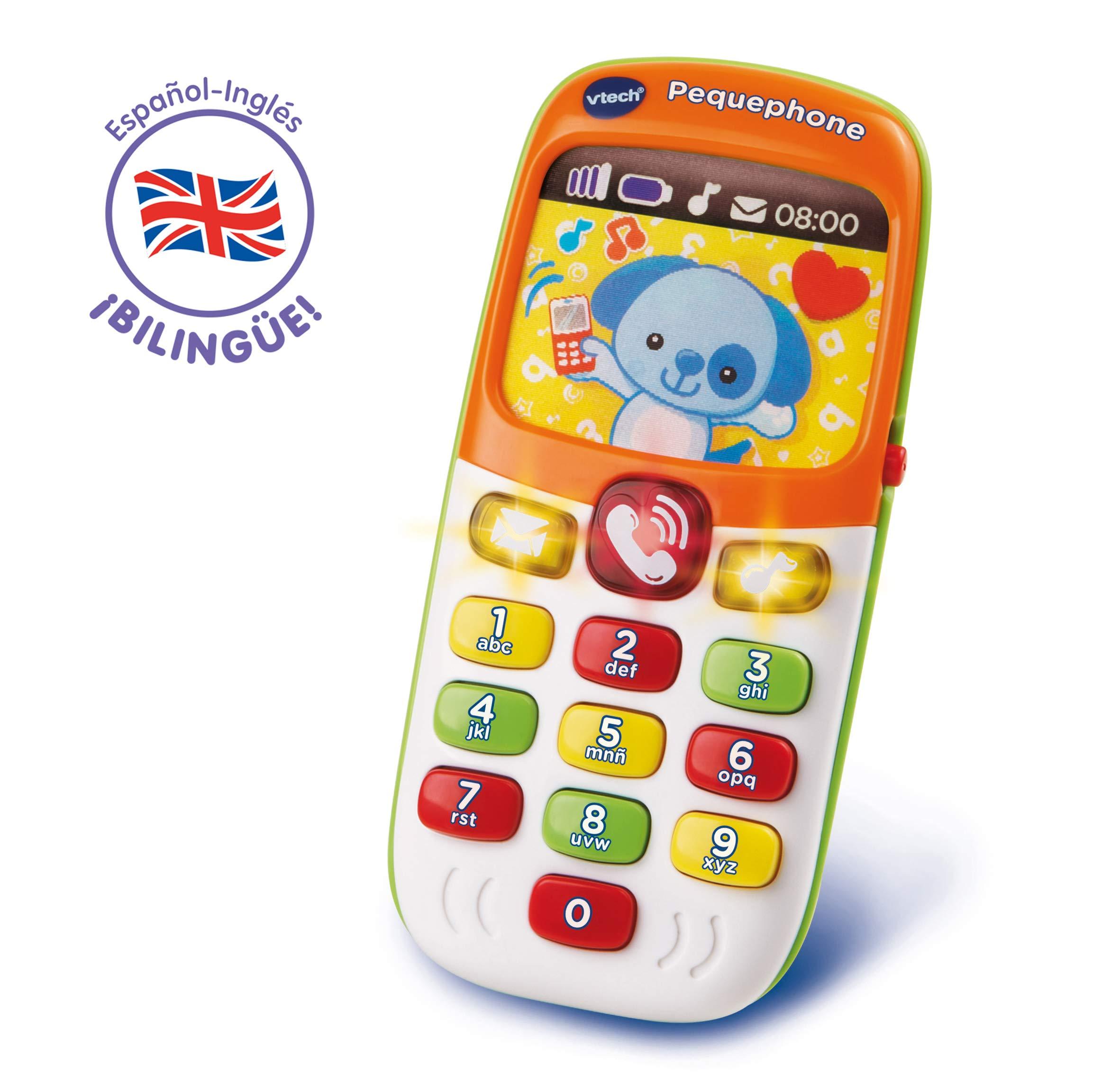 VTech Pequephone bilingüe, teléfono infantil con luces, sonidos y canciones en inglés y español