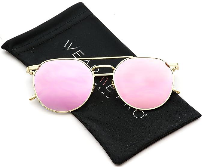 2b7cb3090ff WearMe Pro - Double Bridge Round Fashion Flat Lens Sunglasses (Gold Frame Pink  Lens