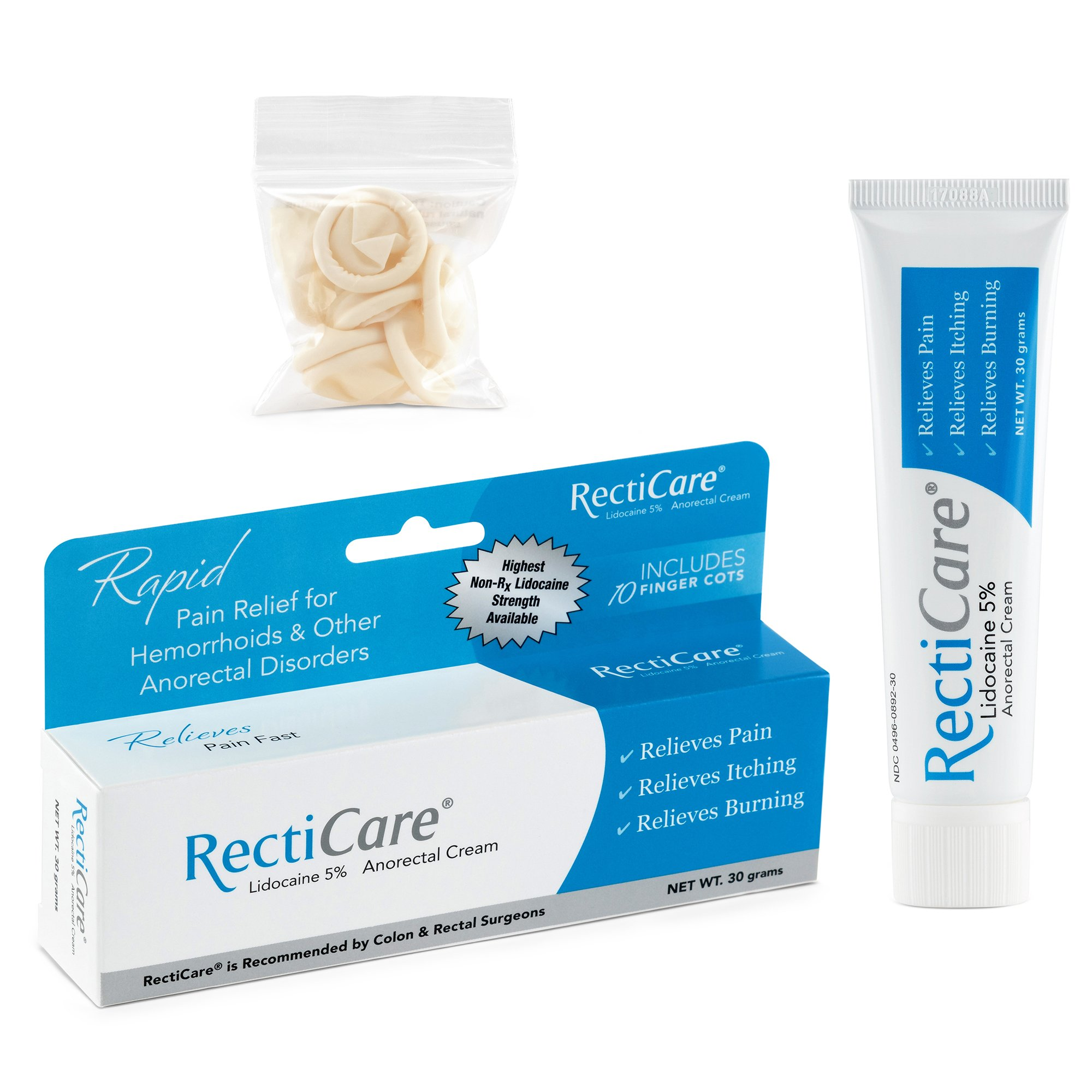RectiCare Anorectal Lidocaine 5% Cream: Topical Numbing Cream for Treatment of Hemorrhoids & Other Anorectal Disorders - 30g Tube
