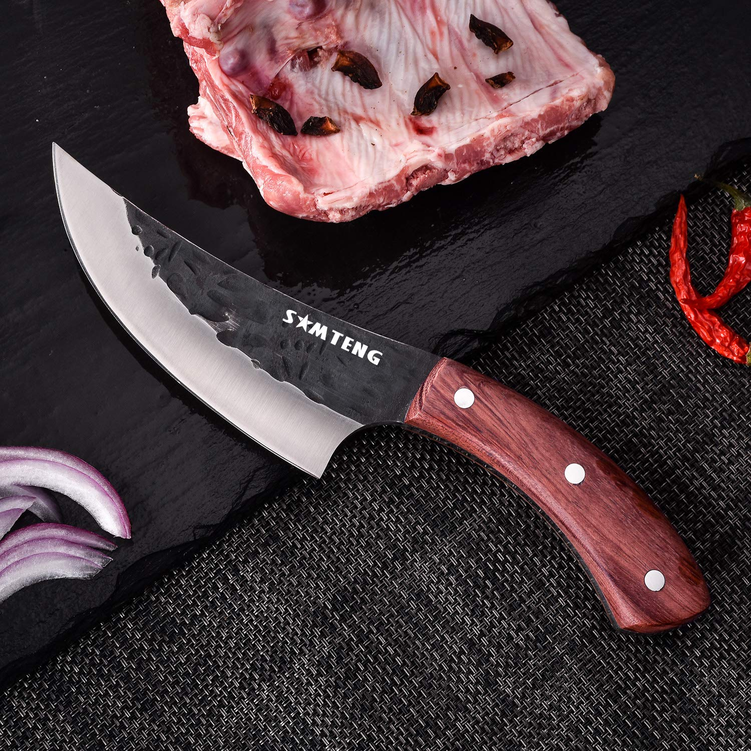 SMTENG Boning Knife 5.5 inch Handmade Forged Hammered kitchen Knife Full tang Sharp Blade Chef Knives Outdoor BBQ Meat Cleaver by SMTENG (Image #5)