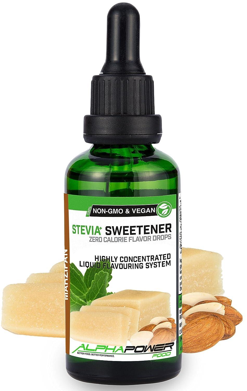 ALPHA POWER FOOD: Stevia líquida natural - Stevia Gotas de Mazapán, Edulcorante natural, sustituto del azúcar con sabor - sin azúcar & calorías: Amazon.es: ...